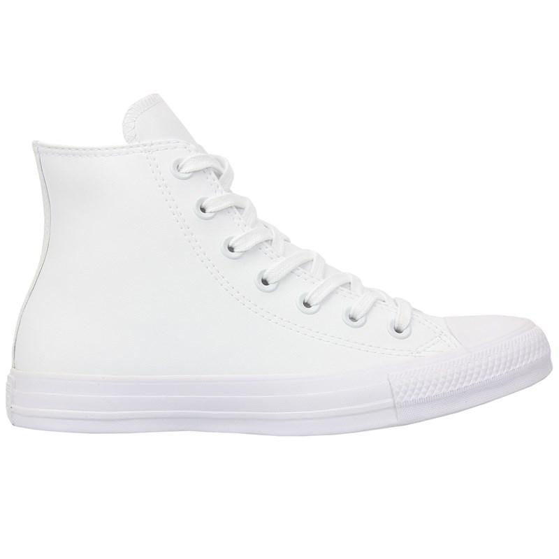 Tênis Converse Chuck Taylor All Star Monochrome Leather Hi Branco Branco