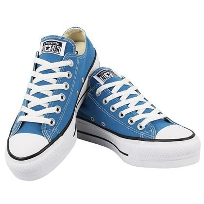 Tênis Converse Chuck Taylor All Star Plataform Azul Acido Preto Branco
