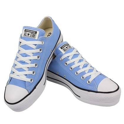 Tênis Converse Chuck Taylor All Star Plataform Azul Claro Preto Branco