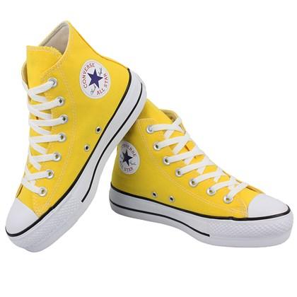 Tênis Converse Chuck Taylor All Star Plataform Hi Amarelo Preto Branco