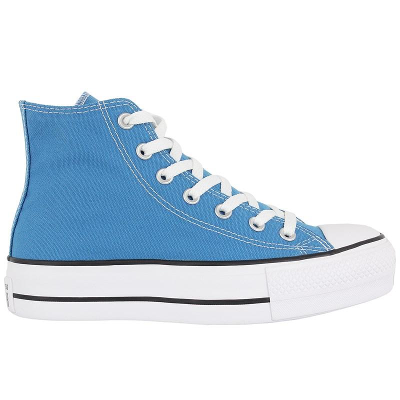 Tênis Converse Chuck Taylor All Star Plataform Hi Azul Acido Preto Branco