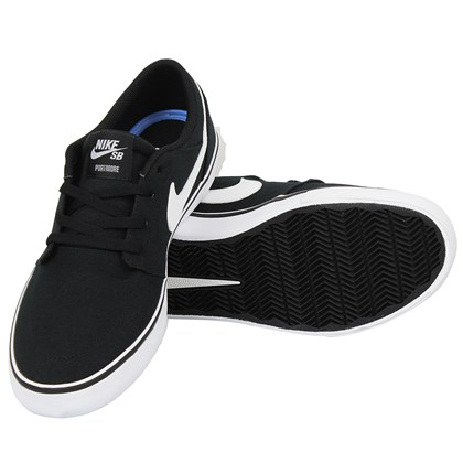 Tênis Nike SB Portmore II Solarsoft Canvas Black White