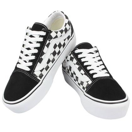 Tênis Vans Old Skool Platform Checkerboard Black True White