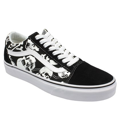 Tênis Vans Old Skool Skulls Black True White
