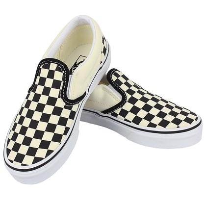 Tênis Vans Slip On Checkerboard Infantil White Black