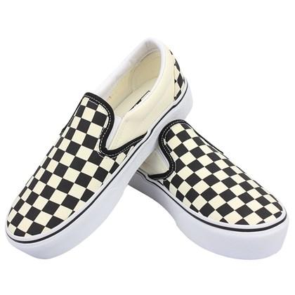 Tênis Vans Slip On Platform Black White Checkerboard