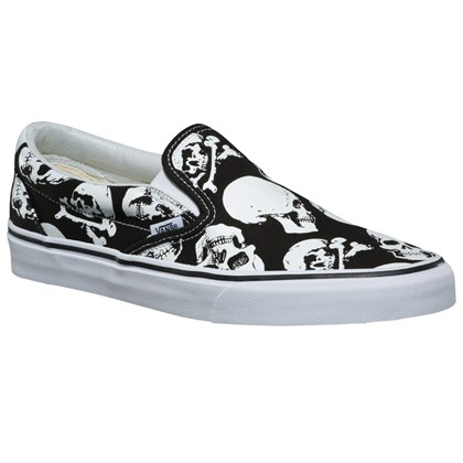 Tênis Vans Slip On Skulls Black True White